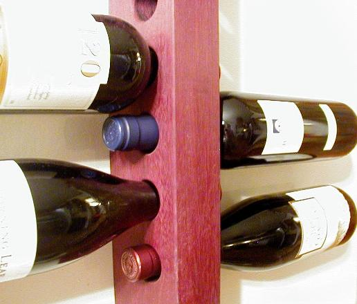 wall mounted wine rack walnut pecan or oak mounts to the wall purpleheart custom